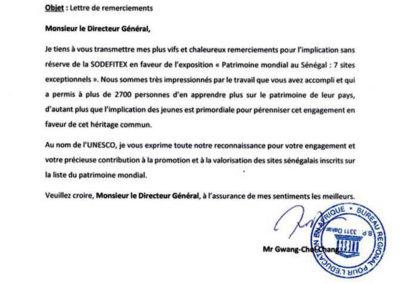 LETTRE DE REMERCIEMENTS DE L'UNESCO